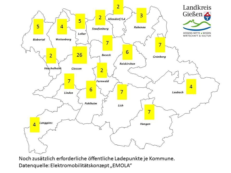 Karte des Landkreises mit den benötigten öffentlichen Ladepunkten.